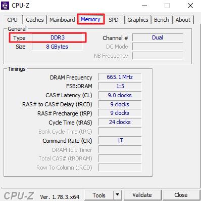 тип оперативной памяти на вкладке Memory