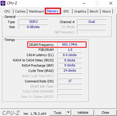 эффективная частота оперативной памяти на вкладке Memory