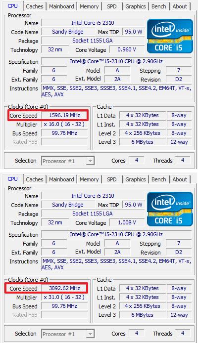 частота процессора Intel Core i5 2310