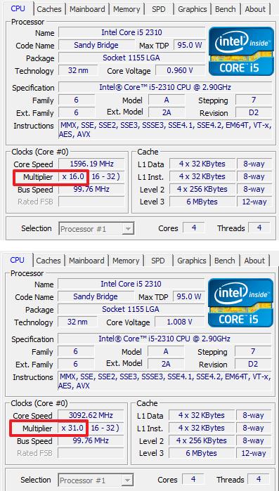 множитель процессора Intel Core i5 2310