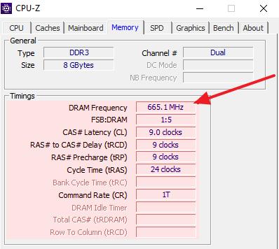 информация о частоте оперативной памяти и таймингах