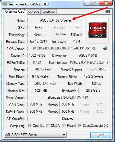 смотрим название видеокарты в окне GPU-Z