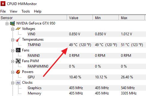 температура видеокарты в HWmonitor