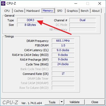 тип памяти в программе CPU-Z
