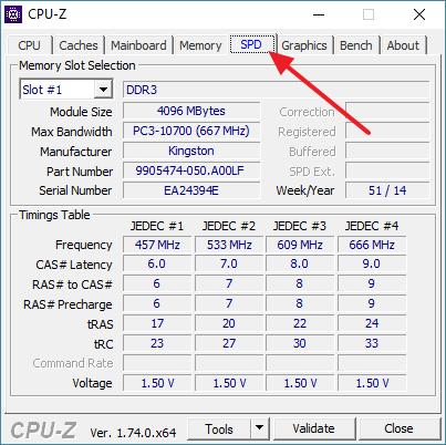 вкладка SPD в программе CPU-Z