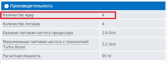 количество ядер в технических характеристиках процессора