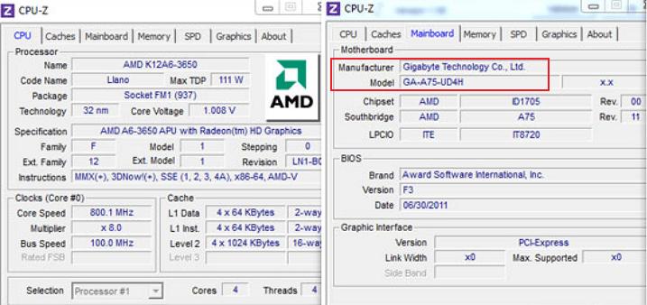 название платы в программе CPU-Z