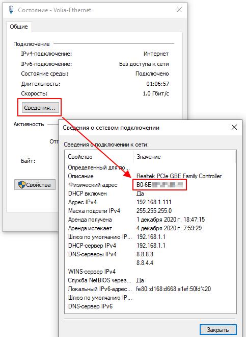 MAC адрес в сведениях