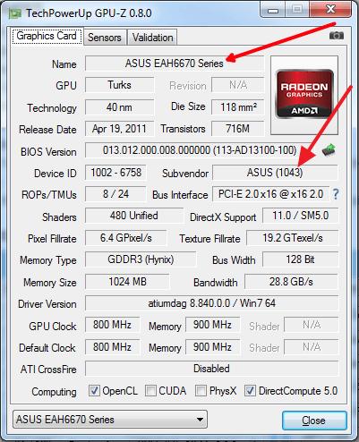 посмотрите название вашей видеокарты в GPU-Z