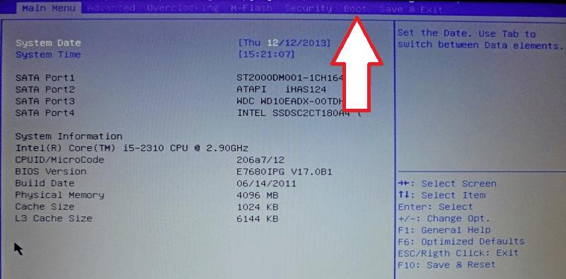 проверяем настройки BIOS