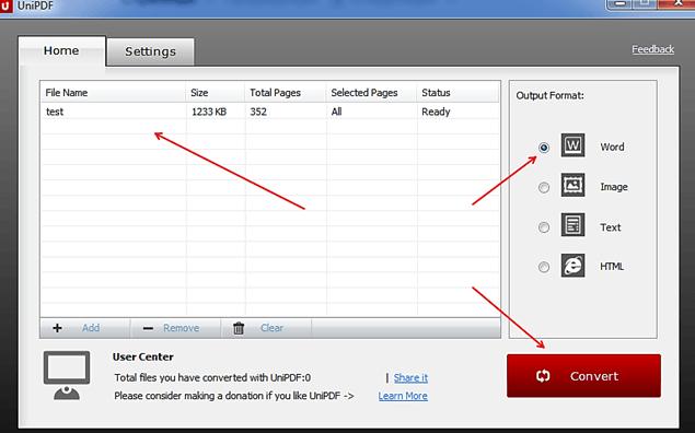 конвертация PDF файла с помощью UniPDF
