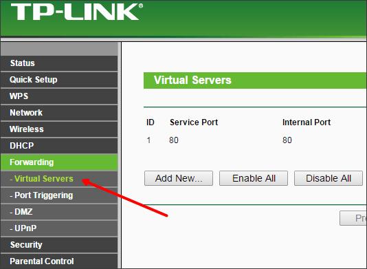 раздел Forwarding - Virtual Servers