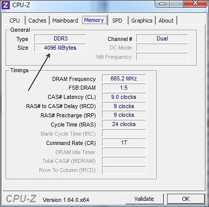 оперативная память в программе CPU-Z