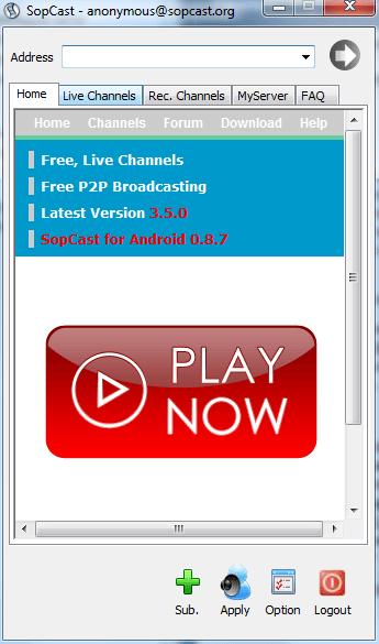 Как пользоваться SopCast: основное окно программы