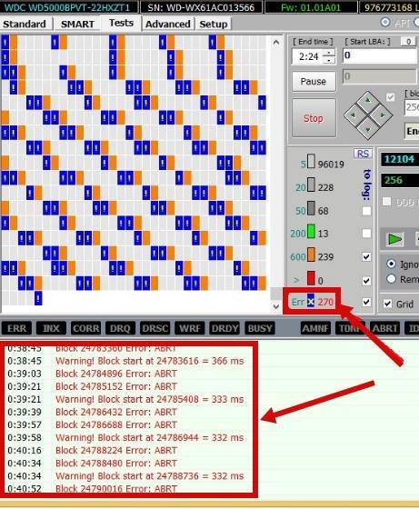 процесс проверки жесткого диска в Victoria 4.46