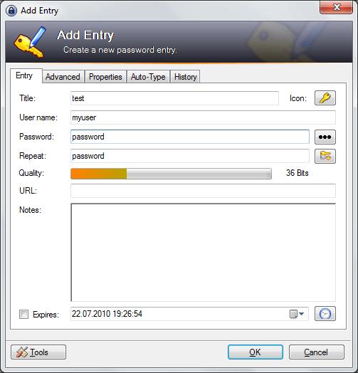 ввод нового пароля в базу KeePass