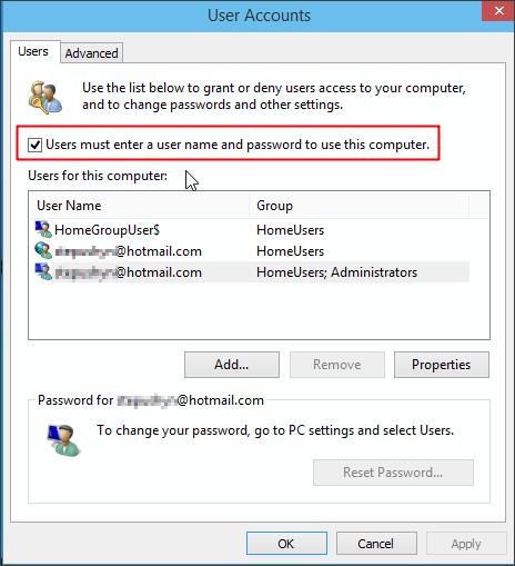 отключаем запрос пароля