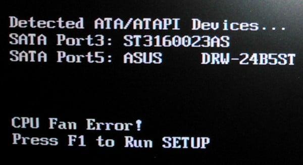 Ошибка Cpu fan error