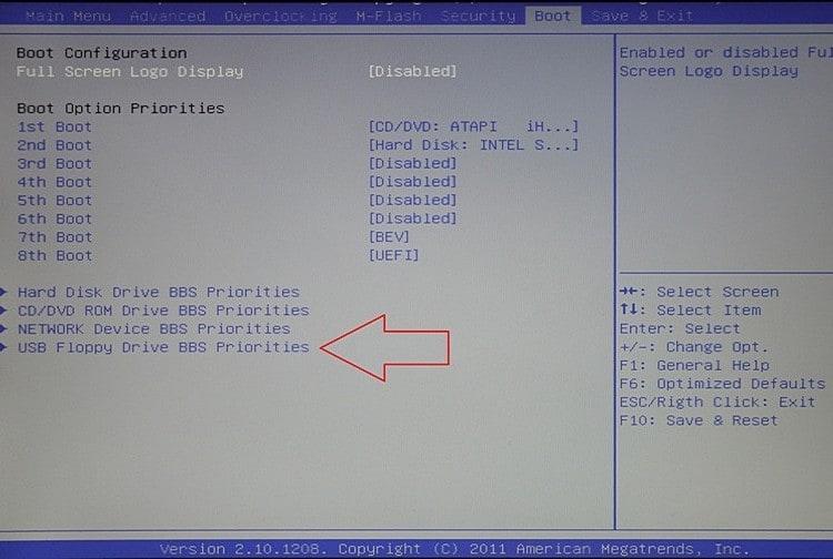 Настройка загрузки с флешки в AMI BIOS