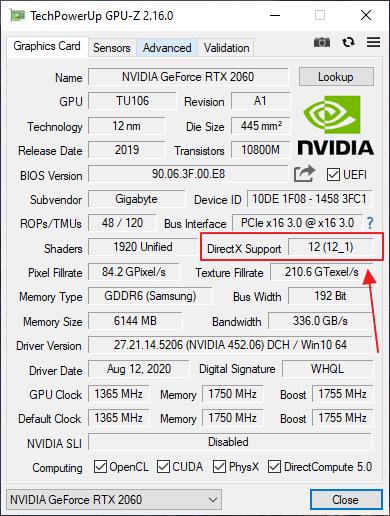 поддержка DirectX 12 в GPU-Z