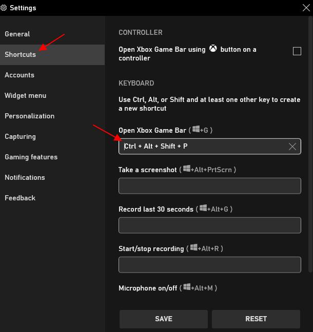 поменяйте комбинацию клавиш Game Bar