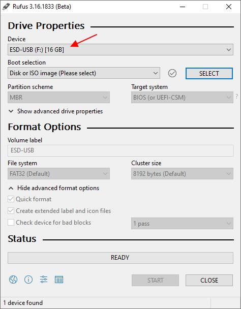 выбрать USB-флешку