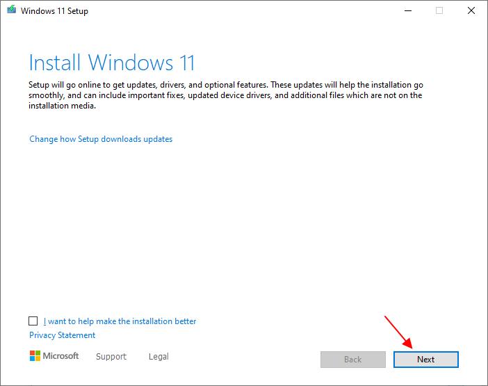 установка обновления до Windows 11