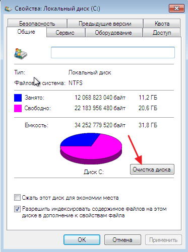кнопка Очистка диска