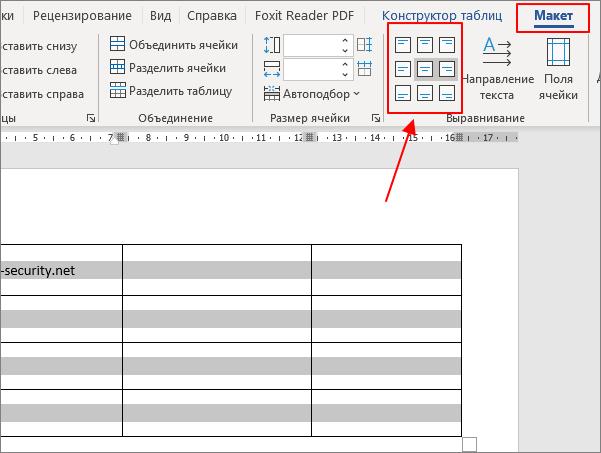 блок кнопок для выравнивания текста в таблице